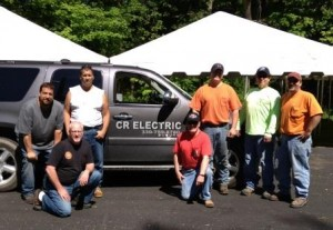 CR Electric of Liberty set up the electricity needs for the Liberty Relay for Life this month as a community service project. Involved in the project were (left to right) Jason Rubin, Bill Booth, Tim Barringer, Jack Kelly, Roger Peskor, Dwight Prowitt and Tim Moran.