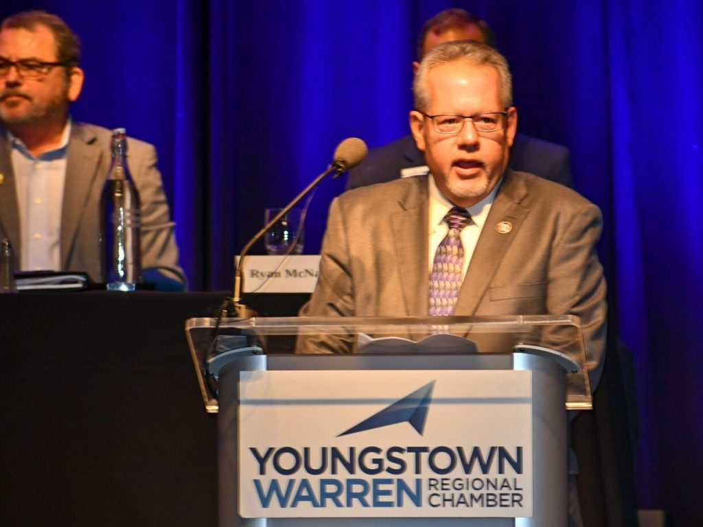 Jim Burgham, business manager for IBEW Local 64 Youngstown, accepts the Regional Chamber's Salute to Labor award.