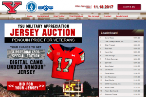 YSU Jersey Auction website