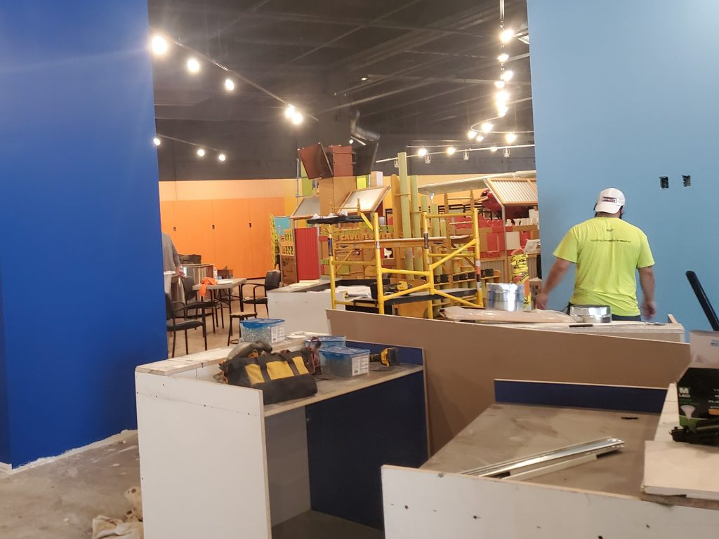 construction scene inside Oh Wow
