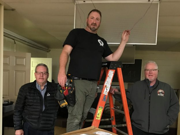 electricians upgrading AMVETS hall